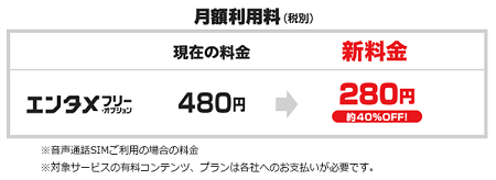 エンタメフリー・オプション料金