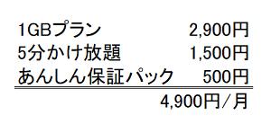 4,900円/月