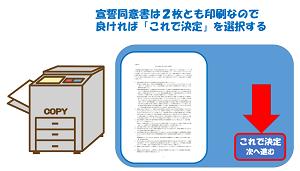 宣誓同意書は2枚なので、2枚印刷でよければこれで決定に進むをクリックする